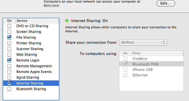 Bluetooth network preferences
