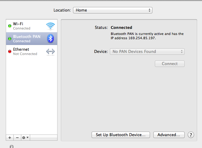 Bluetooth PAN connected under Mac OS X 10.7